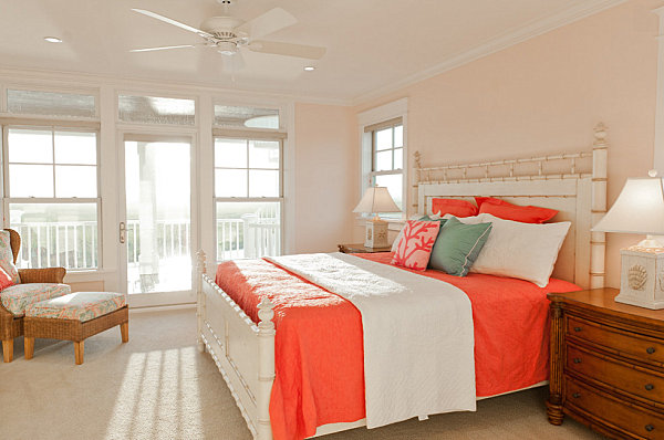 Coral bedding in a beachy bedroom