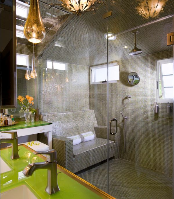 Cozy seating inside the steam shower!