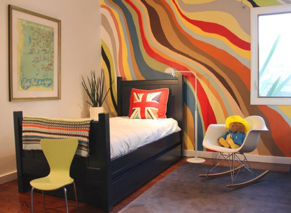 Creativity and plenty of paint transform this small kids' bedroom