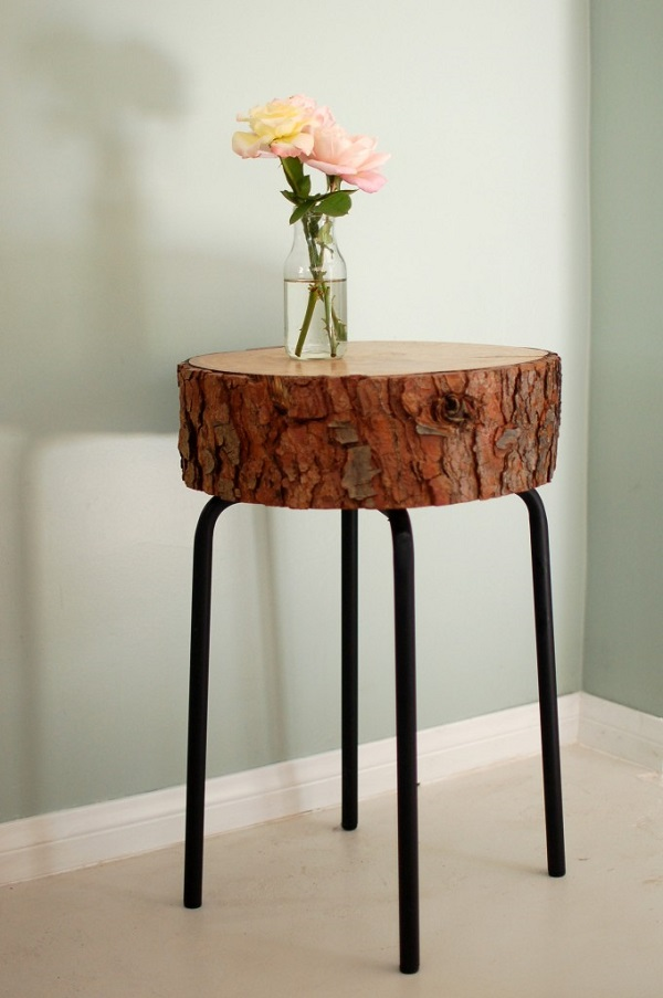 Side Table Decor : Cross section side table DIY DIY Wood Cross Section Decor Ideas