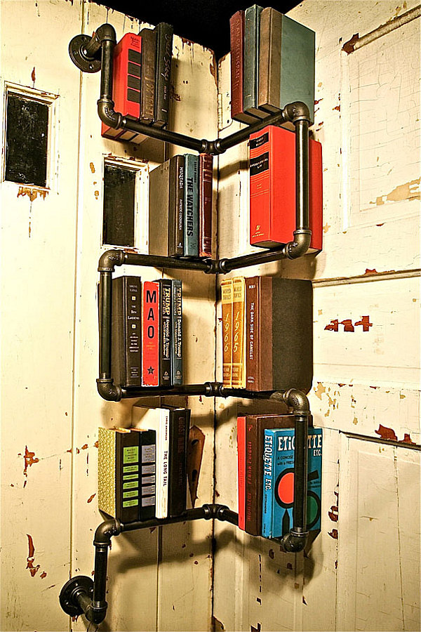 10 diy inspiring bookshelf designs for Diy industrial bookshelf