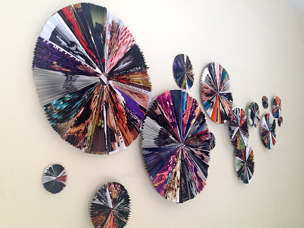 DIY magazine fan wall art
