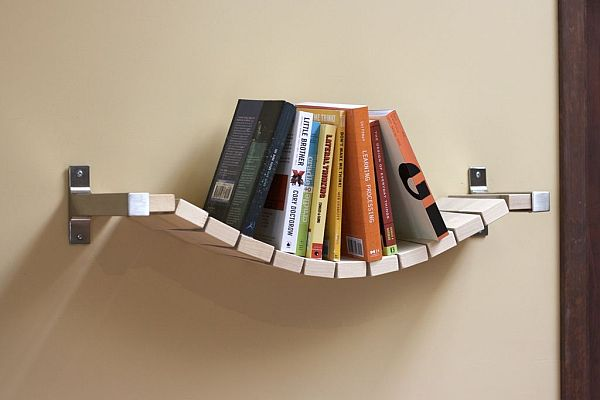 DIY rope bridge bookshelf