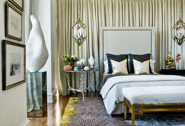 Decadent bedroom with silver and gold details
