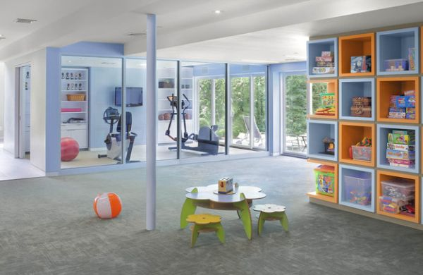 Dedicated home gym allows you to watch over the kids in the playroom