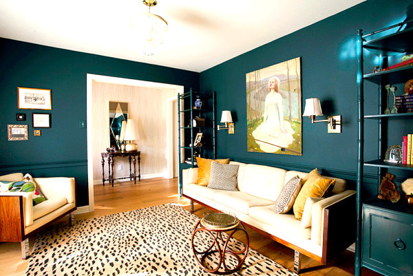 Deep teal living room