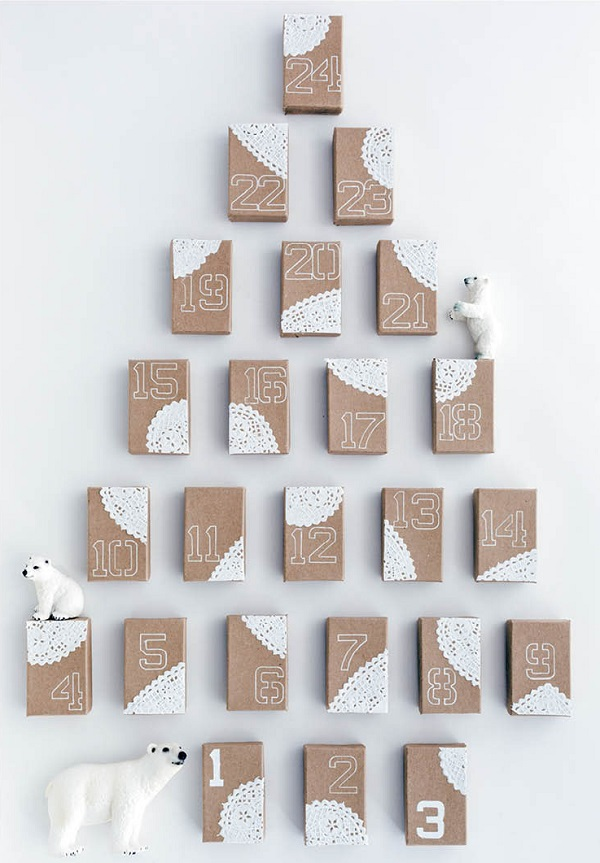 Doily accented advent calendar boxes