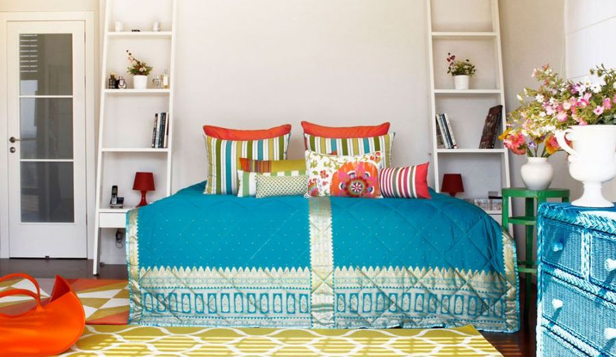 Eclectic bedroom with colorful decor