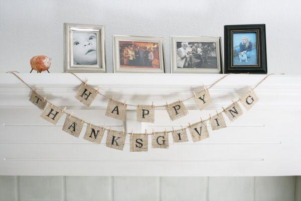 Elegant Thanksgiving bannner in black and white