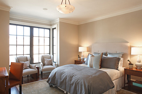 elegant bedroom in a modern townhome