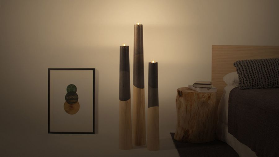 elegant etna wood candle holders inspired by fiery volcanoes