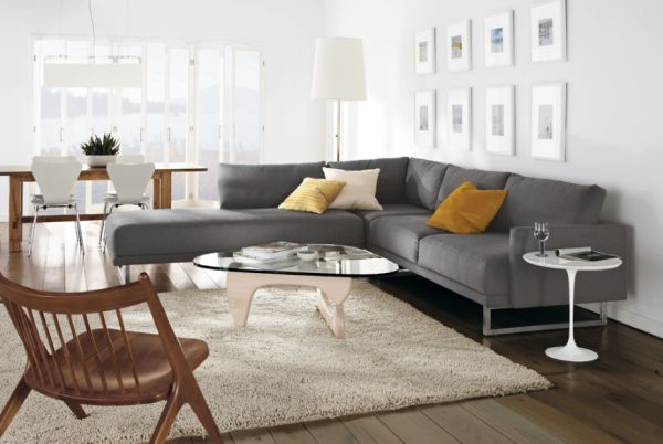 Exquisite living room with a large grey sectional sofa