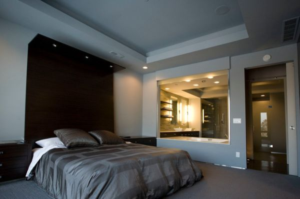 extended headboard design with in built recessed lighting. Black Bedroom Furniture Sets. Home Design Ideas