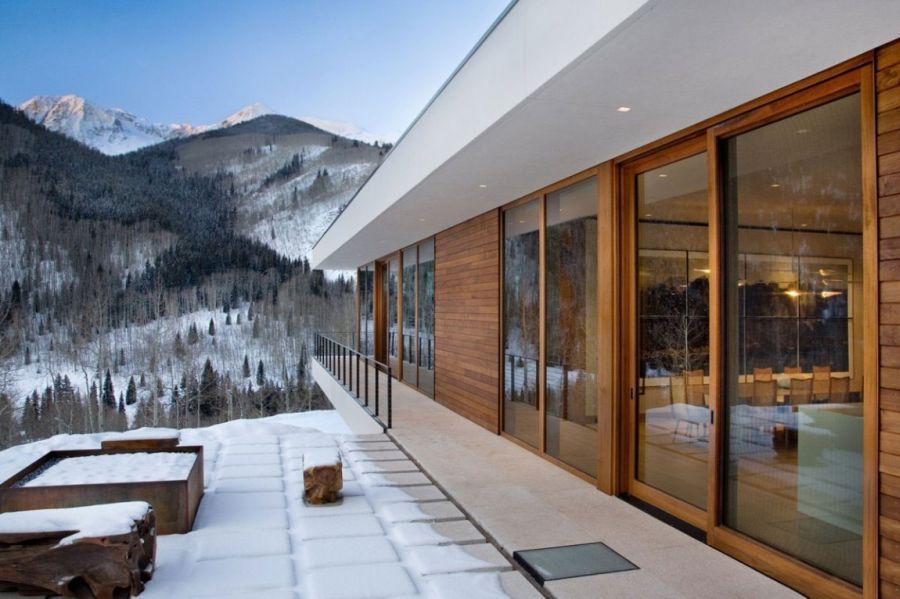 Exterior of the lavish Aspen retreat