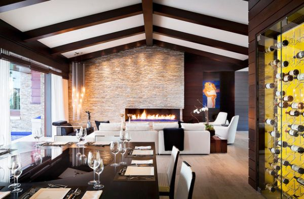 Extravagant modern dining room with lavish seating space and a fireplace
