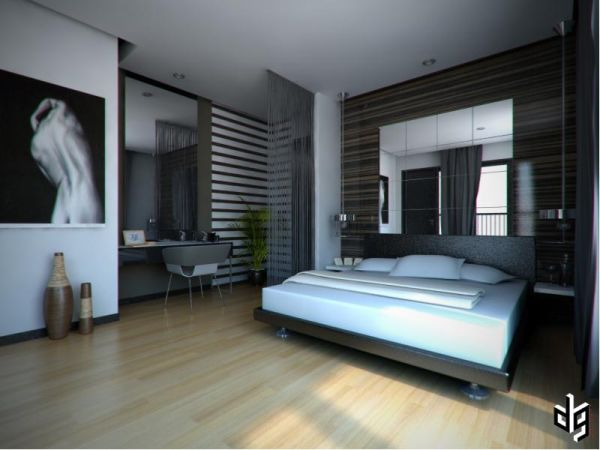 View in gallery Fabulous bedroom with a simple workstation & 60 Stylish Bachelor Pad Bedroom Ideas