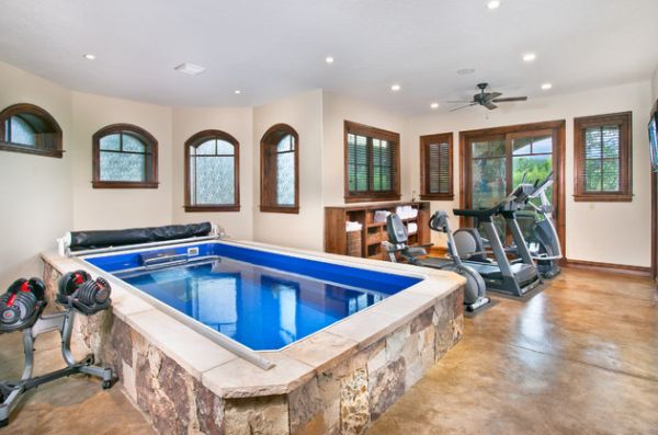 Fabulous indoor lap pool is a great addition to the home gym