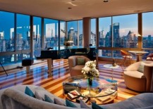 Fabulous living room with an amazing city skyline view