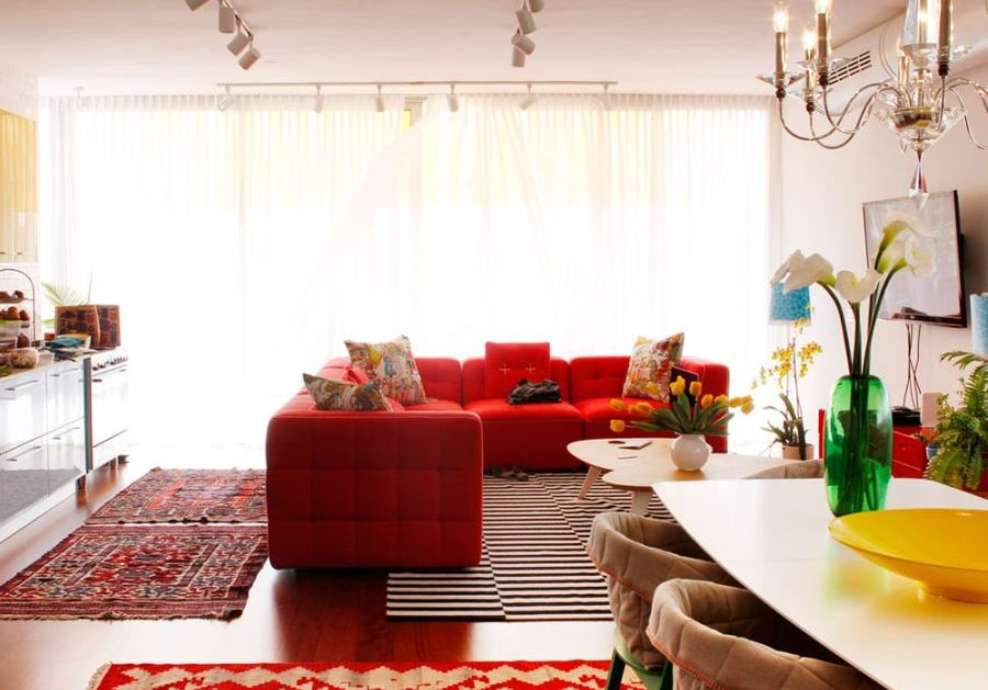 Fabulous sectional sofa in bright red