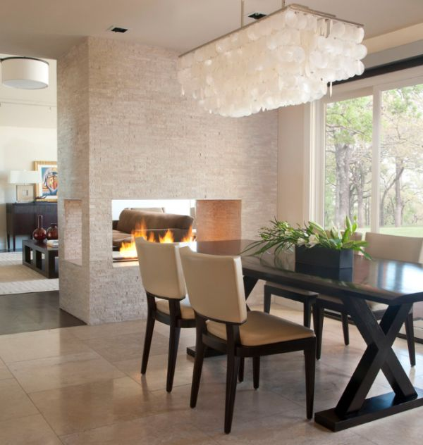 Dining room fireplace ideas for romantic winter nights for Open sided fireplace