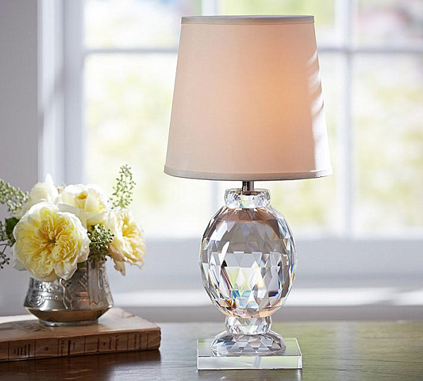the carlotta faceted crystal accent lamp from pottery barn boasts a. Black Bedroom Furniture Sets. Home Design Ideas