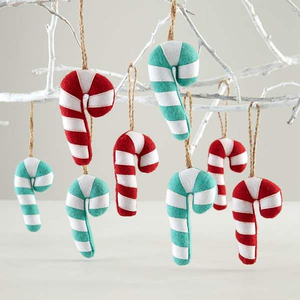 Felt candy cane ornaments