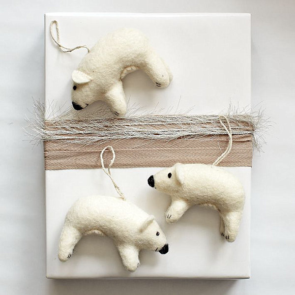 Felt polar bear ornaments
