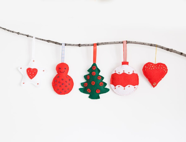 Felt tree ornament set
