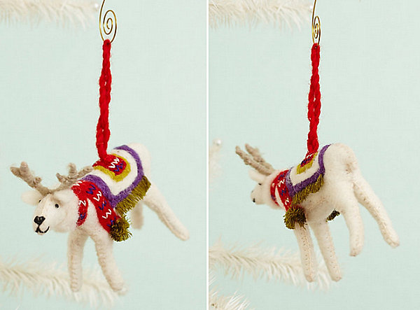 Felted reindeer ornament