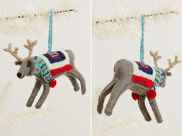 Felted wool reindeer ornament