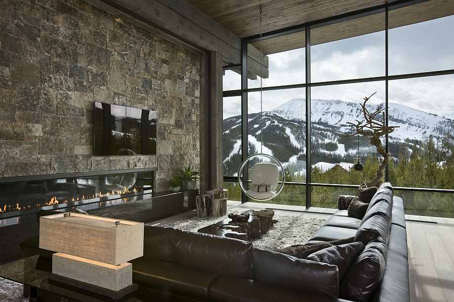 Fireplace in the living room with mountain view