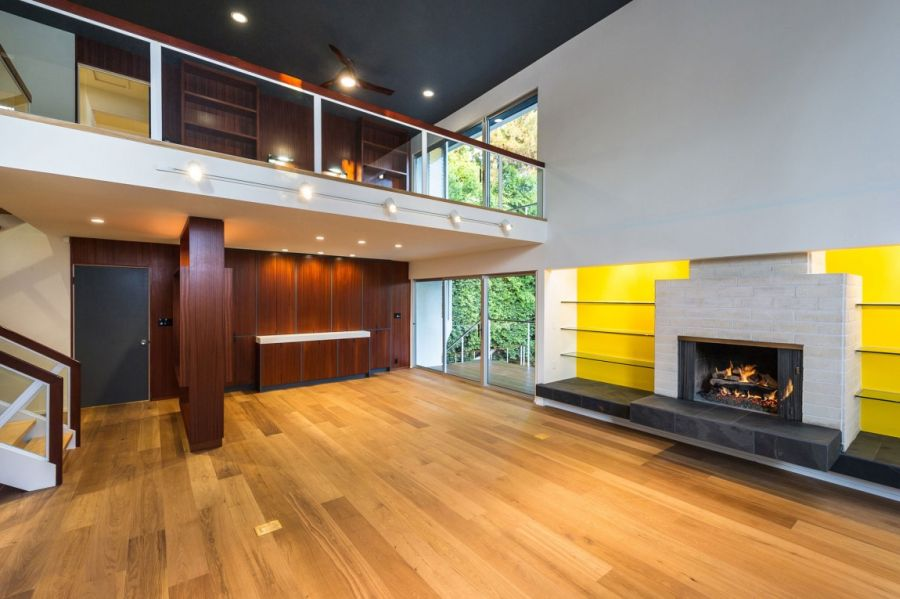 Fireplace in the open living room