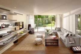 Floating shelves add an airy appeal to the living room 270x180 70 Bachelor Pad Living Room Ideas