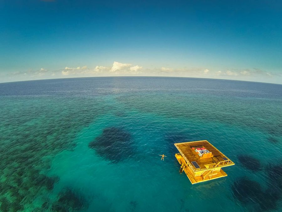 Floating underwater hotel room at Manta Resort