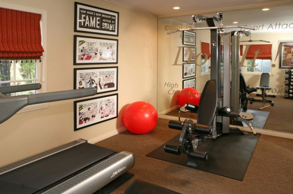 view in gallery framed comic book pages make a colorful addition to the home gym - Home Gym Design Ideas