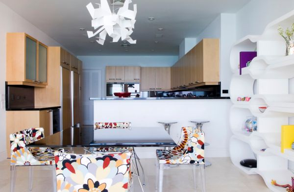 Fun florals add color to the space