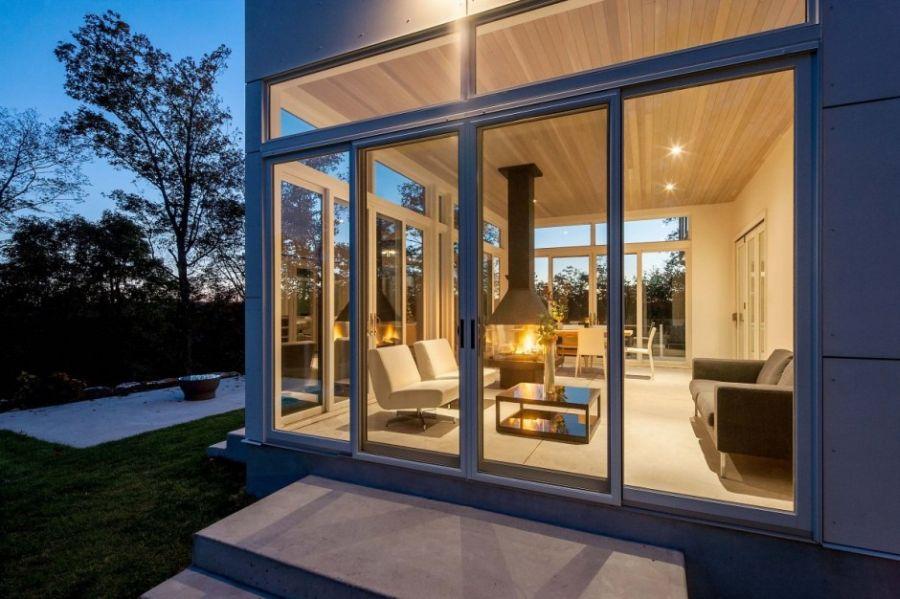 Glass walls living room idea