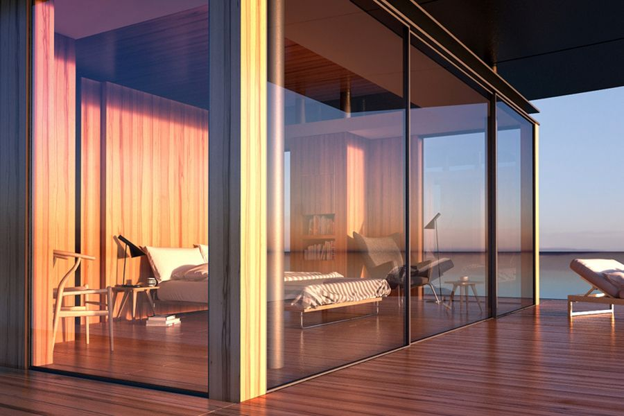 Glass walls of floating house maximize surrounding views