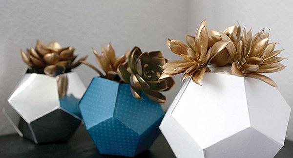 Gold succulent origami planter