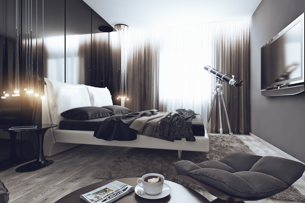 Gorgeous bedroom in cool grey hues