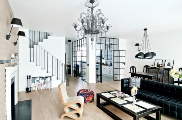 Gorgeous black and white living room with the Wiggle Chair