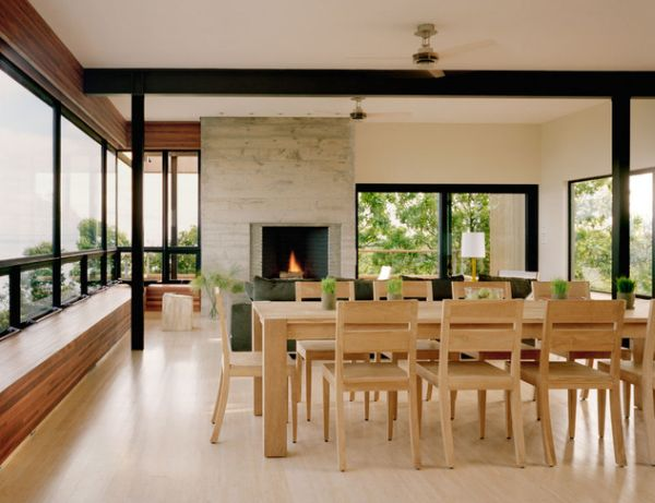 Gorgeous dining room exudes an organic and natural vibe