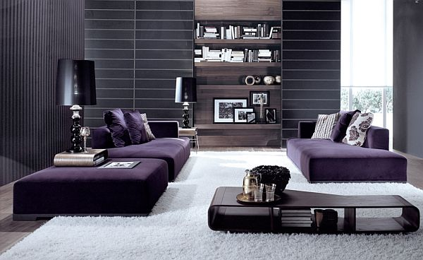 Gorgeous living room in purple and white