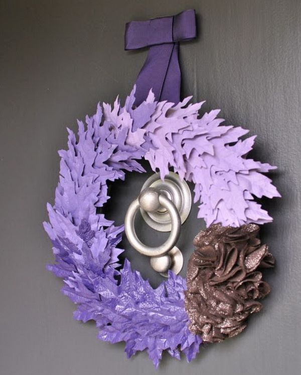 Gorgeous purple hearth adds a festive touch to the doorway