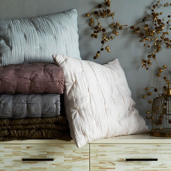 Gray bedroom featuring pillows from West Elm