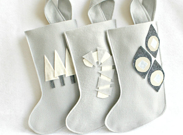 Gray, charcoal and white Christmas stockings