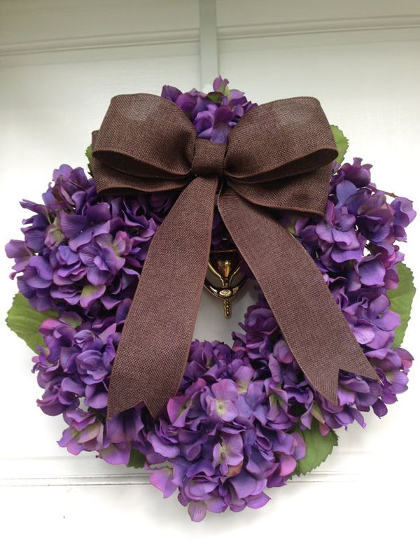 Greet your guests with a vivacious deep purple hydrangea wreath