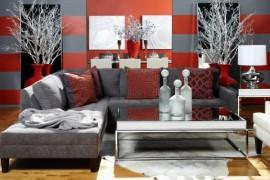 Grey and red bachelor pad living room