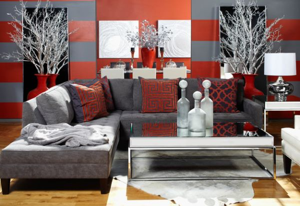 grey and red bachelor pad living room