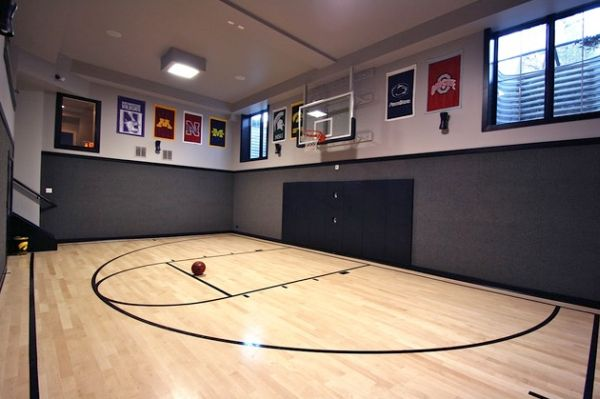 Home gym has enough space for a pickup basketball game